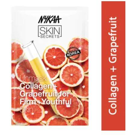 Nykaa skin secrets collagen grapefruit sheet mask